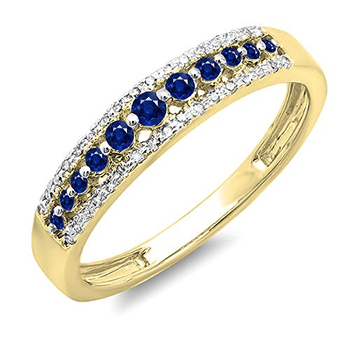 Dazzlingrock Collection 14K Round Blue Sapphire & White Diamond Ladies Anniversary Wedding Band Ring, Yellow Gold, Size 8.5
