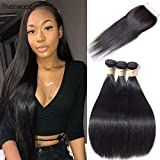 Malaysian Straight Virgin Hair 3 Bundles with Closure 100% Unprocessed Remy Human Hair Weave Bundles with Lace Closure Free Part 4 Pc/Lot(10 12 14 with 8inch Closure)
