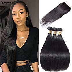Malaysian Straight Virgin Hair 3 Bundles with Closure Free Part Natural Color Grade 9A Virgin Remy Human Hair Weave with Lace Closure (20 22 24 26 with 18inch Closure)