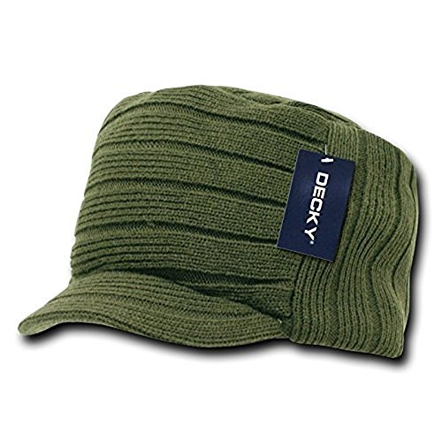 Decky Flat Top Style Curved Visor Thick Cap Army Olive Green One Size Cadet Hat