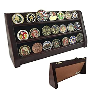 Indeep 3 Row Challenge Coin/Casino Chip Display Stand Rack Holder Stand (Mahogany Finish) from Indeep