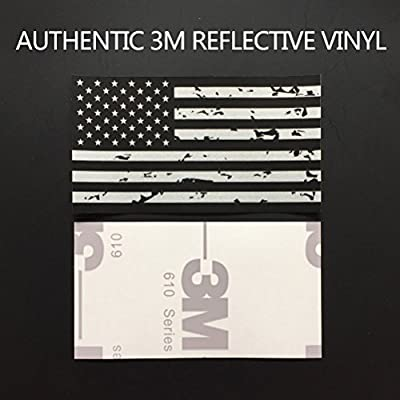 CREATRILL Reflective Subdued Tattered American Flag Sticker 2.7