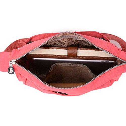 Zipper Shoulder Cross Lightweight with Pink Bag Nylon Pockets Casual TianHengYi Women's body Bag Messenger 2 qZSPnP