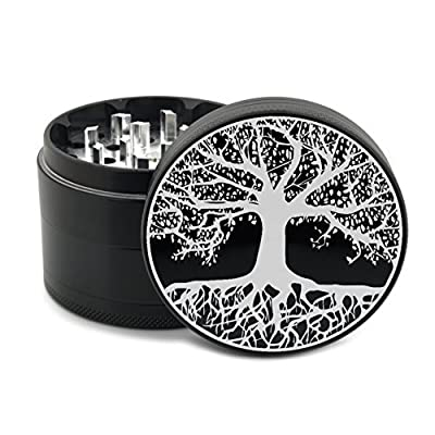 "Tree of Life Herb Grinder 4 Piece Black Laser Etched Premium Grade Aluminum Grinders 2.5"" 63mm - Engraved Custom Ancient Mystic Design - Gift Box"