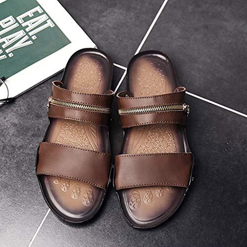 de Antideslizantes los Sandalias Cuero Verano Zapatillas de WeiLuShop Hombres de TxFUtF1