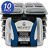 INEVIFIT Meal Prep 3 Compartment BPA FREE, Premium Food Storage Containers, ...