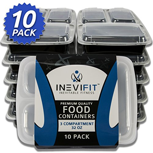 INEVIFIT Meal Prep 3 Compartment BPA FREE, Premium Food Storage Containers, Durable & Reusable, 32 oz. Stackable 10 Pack, Microwaveable & Dishwasher Safe Bento Lunch Box with Leak Resistant Technology