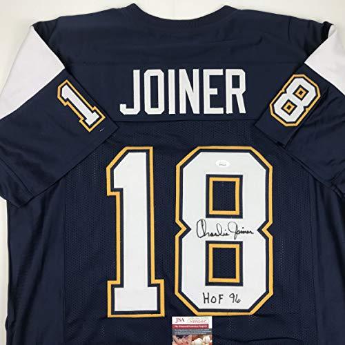 (Autographed/Signed Charlie Joiner HOF 96 San Diego Dark Blue Football Jersey JSA COA)