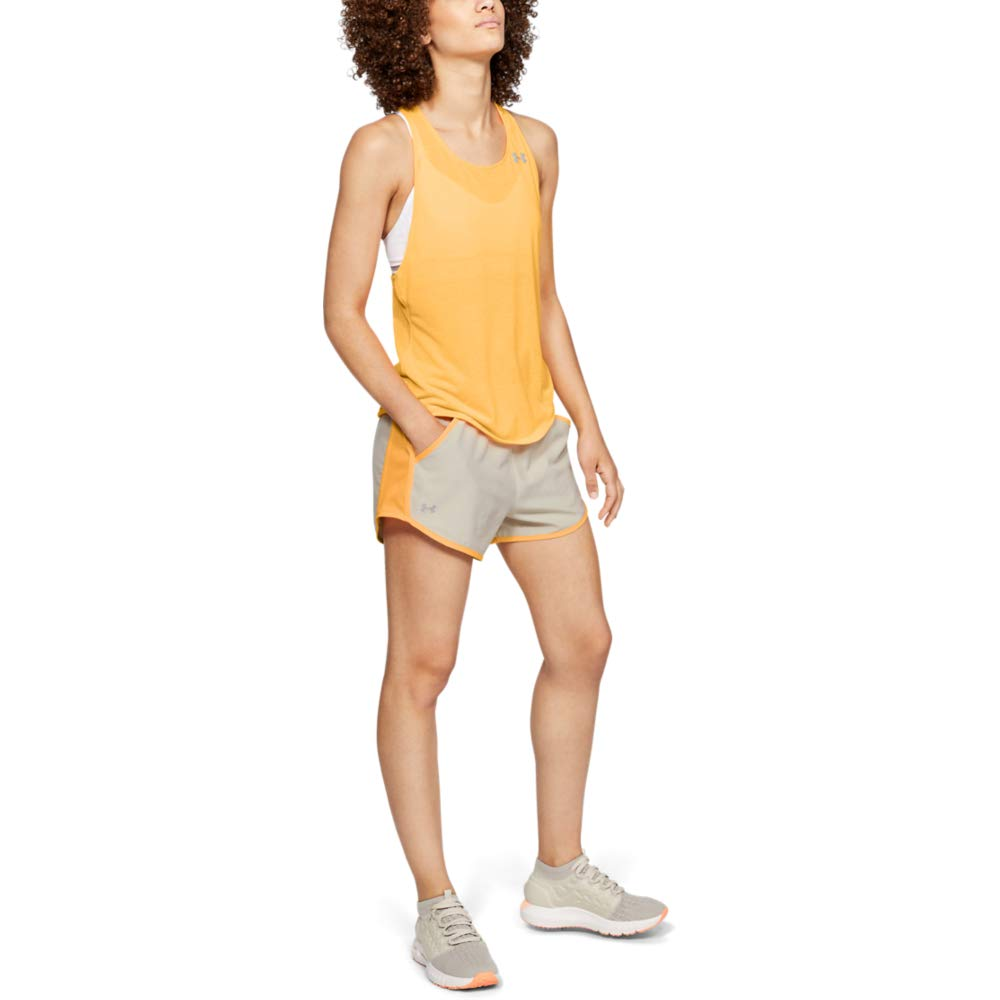 Under Armour womens Fly By Running Shorts, Mango Orange (289)/Reflective, X-Small