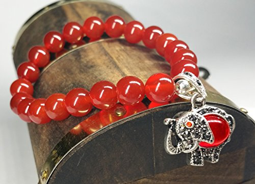 Red Agate Handmade (Feng Shui Handmade Red Agate Beads Bracelet with Lucky Elephant Ward Off Evil Energy (With Betterdecor Pounch))