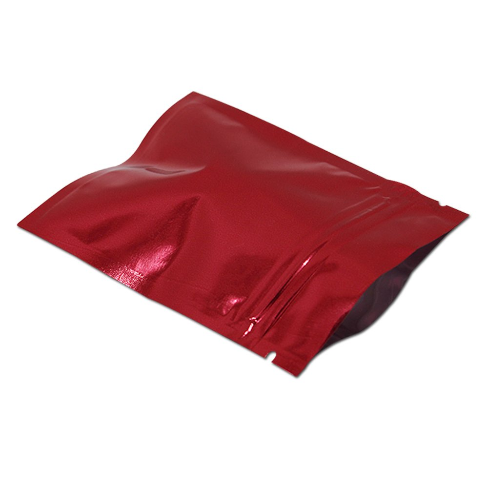 100 Pcs 14x20cm (5.5x7.9 inch) 8 Colors Aluminum Foil Bag Zip Lock Mylar Bag Smell Proof Safe Food Coffee Nuts Snack Pouches Long Term Emergency Food Storage Supply Packing Material
