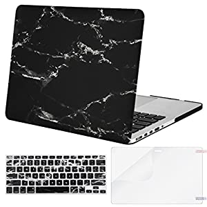 Mosiso Plastic Pattern Hard Case with Keyboard Cover with Screen Protector Only for MacBook Pro Retina 13 Inch No CD-Rom (A1502/A1425, Version 2015/2014/2013/end 2012), Black Marble