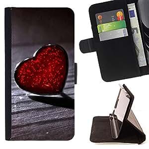 - Lonely Heart Red Hearts - - Prima caja de la PU billetera de cuero con ranuras para tarjetas, efectivo desmontable correa para l Funny HouseFOR Apple Iphone 5 / 5S