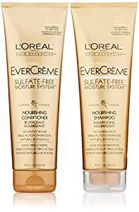 L'Oreal Paris EverCreme Sulfate-Free Moisture System Nourishing, DUO set Shampoo + Conditioner, 8.5 Ounce, 1 each