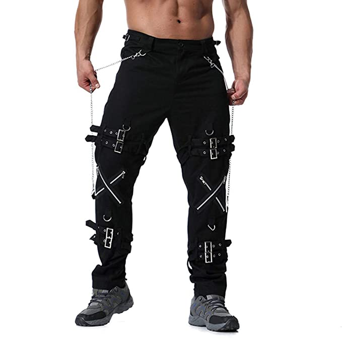 Men's Steampunk Clothing, Costumes, Fashion Mens Plus Size Fancy Multi Zipper Cotton Vintage Casual Trouser Long Cargo Pants $35.29 AT vintagedancer.com