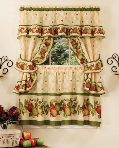 Ben&Jonah AchimHF-AOCS36AN06 Park Avenue Collection Apple Orchard Cottage Set-57x36 Tier Pair/57x36 Ruffled Topper with Attached Valance and tiebacks. -Antique, Multi ()