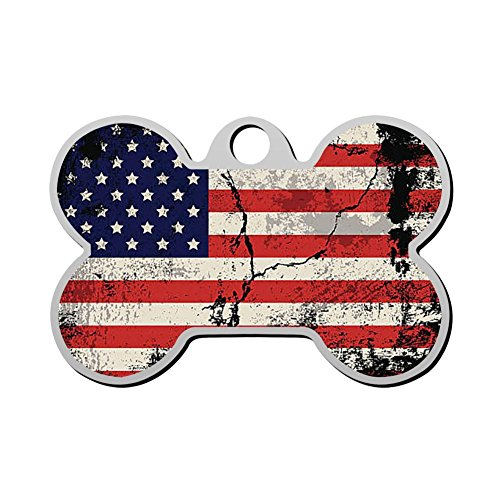 Personalized Pet T-shirt - Pet ID Dog Tag USA American Flag Personalized Custom Pet Tag with Pets Name & Contact Number