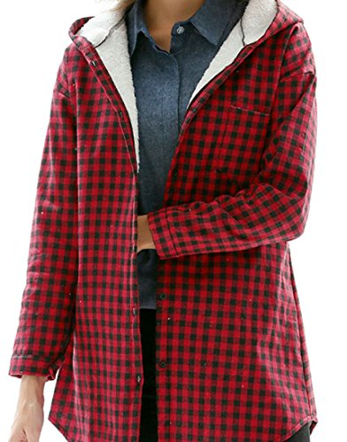 ouxiuli Women Plaid Print Hoodie Sherpa Lined Long Line Shirt Jacket Red (Lined Denim Shirt Jacket)