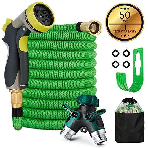 PHYSEN Expandable Water Hose 50Ft Garden Hose – Super Durable 3750D 100% Solid Brass Connectors 8 -Way Spray Nozzles with 2-Way Pocket Splitter Lightweight Outdoor Gardening Flexible Hose