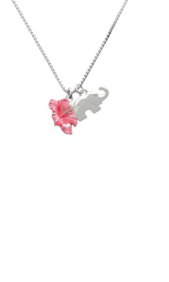 Amazoncom Hot Pink Hibiscus Flower Elephant Necklace 182 Jewelry