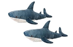 "IKEA Two Large Plush Shark Blahaj Soft Toy, 39.25"", Multicolor"