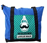 Lunarable Baby Shower Shoulder Bag, Welcome Little Man Text, Durable with Zipper