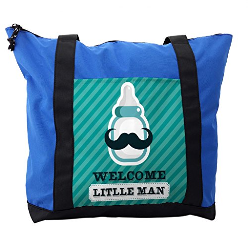 Lunarable Baby Shower Shoulder Bag, Welcome Little Man Text, Durable with Zipper by Lunarable