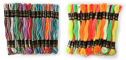 (Iris 1380 Ombres (24 Pack) cotton and Iris 1500 Neon (24 pack) polyester Embroidery Threads Friendship bracelets key chains shoe laces jean hems)