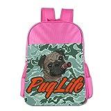 Coool Pug Life Pug Smoking Teenage Backpack Book Bag Boys' Girls' School Bags Pink