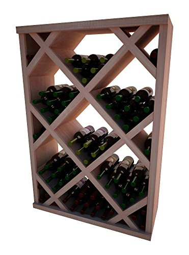 Unstained Diamond Bin (Vintner Series Wine Rack - Diamond Bin with Face Trim - 4 Ft - Allheart Redwood with Unstained)