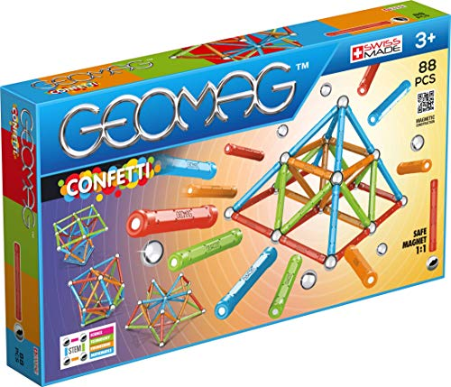 Geomag - CONFETTI - 88-Piece Magnetic Building Set, Certified STEM Construction Toy, Safe for Ages 3 and Up