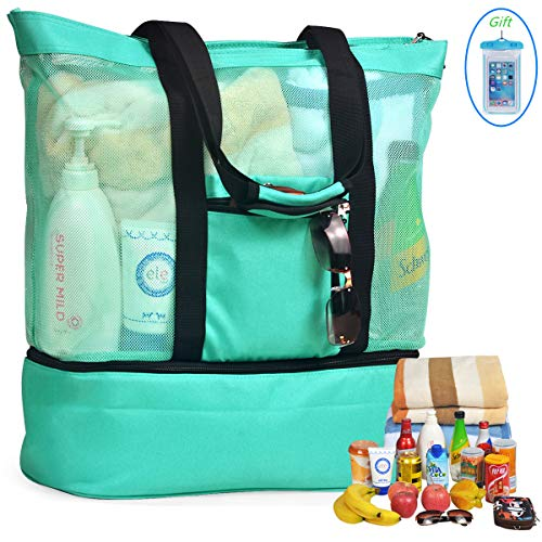 LYH Mesh Beach Bag and Totes Insulated Picnic Cooler Pool Bag with Zipper Top for Women Kids Student,(Green) ()