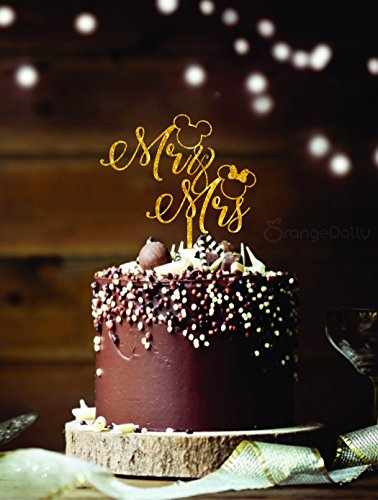 Mickey Mr& Mrs Cake Topper - Glitter Gold