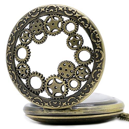 3D kugghjul design motiv kvarts fickur halsband till 80 cm/32 tum kedja välj