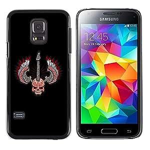 KOKO CASE / Samsung Galaxy S5 Mini, SM-G800, NOT S5 REGULAR! / cráneo alas guitarra de rock heavy metal / Delgado Negro Plástico caso cubierta Shell Armor Funda Case Cover
