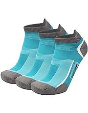 DANISH ENDURANCE Low-Cut Pro Ankle Running Socks 3 Pack, for Men & Women, Anti-Blister, Trainer, Athletic, Multipack in Black, Blue, White, Grey