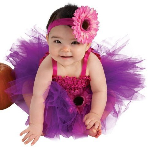 Pink Flower Toddler Costumes (Rubie's Costume Newborn Pink Flower Tutu Dress, Pink/Purple, 6-9 Months)
