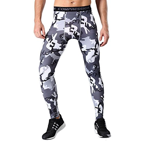 Sanke Camo Compression Leggings Workout Performance Running Tights Capri Pants]()