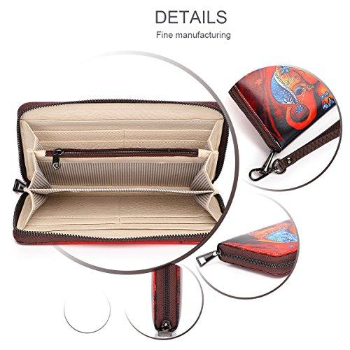 APHISON PU- Leder Damen Geldbörse süß Mode Portemonnaie Geldbörse der Frauen-Organizer Wallet/ Clutch - Geschenk für Frauen Elefanten