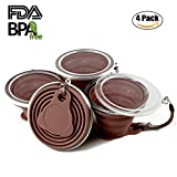 team coffee cups - Collapsible Travel Cup, Certified BPA Free Silicone 9.22oz Drinking Mug with Lid - Water, Coffee, Coca Cola and Snacks for Hiking, Camping, Picnic(Brown-4 Pcs)