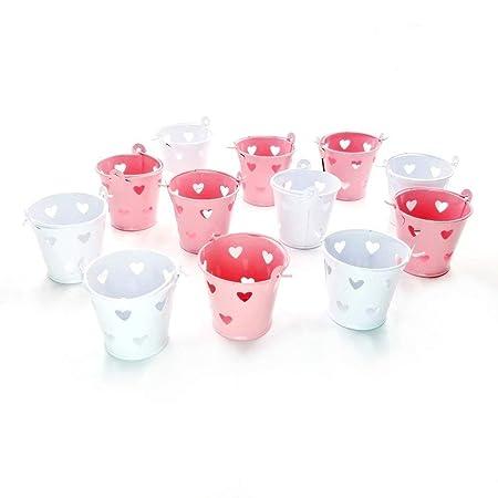 JZK 12 x Mini cubos de metal balde para Invitados boda bautizo cumpleaños navidad decoracion mesas llene bolsa de caramelos caja confeti dulces ...