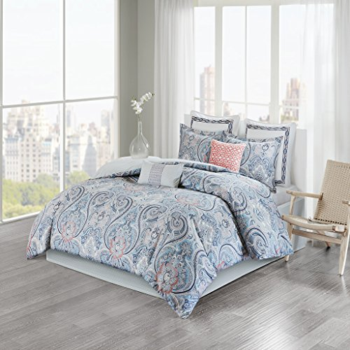 Avalon Cotton Sateen Reversible Comforter Set Blue / Coral Queen
