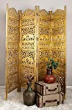 Deco 79 Traditional Carved Wood 4-Panel Room Divider, 72' H x 80' L, Weathered Gold Finish