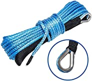 """BANG4BUCK 1/4"""" x 50' Synthetic Winch Rope Car Recovery Cable 7000 LB+ Breaking Strength with Timble f"""