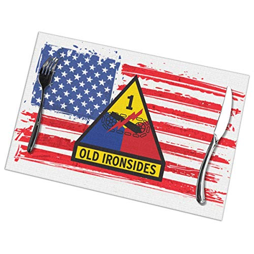 Mucup 1st Armored Division Old Ironsides Placemats Funny Table Mats Heat-Resistant Non-Slip Set of 6