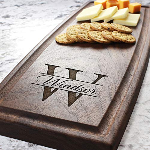 (Contemporary Name Personalized Cheese Board - Engraved Cheese Plate, Custom Cutting Board, Wedding Gift, Housewarming Gift, Anniversary Gift, Engagement W-004 GB)