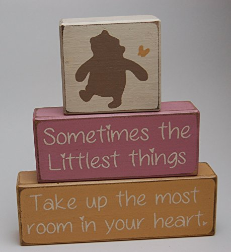 Winnie The Pooh Classic-Sometimes The Littlest Things Take Up The Most Room In Your Heart - Primitive Country Wood Stacking Sign Blocks Nursery Room Baby Shower Gift Home Decor (Winnie The Centerpiece Pooh)
