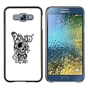 Octopus Squid Skull- Metal de aluminio y de plástico duro Caja del teléfono - Negro - Samsung Galaxy E7 / SM-E700