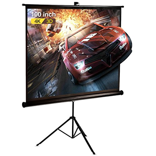 100 Inch Projector Screen Stand Joyheo Portable Tabletop HD 4:3 Foldable Tripod Indoor Outdoor Projector Screen for Home Cinema Sports Office Education Presentations Entertainment