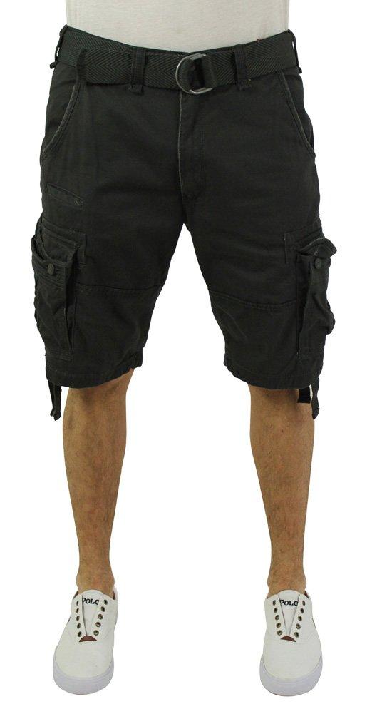 Jordan Craig Men's Twill Washed Cargo Shorts Belted Gray Size 34 by Jordan Craig